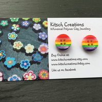 Button Earrings Rainbow Earrings Stud Earrings  Design 3