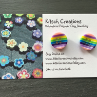 Button Earrings Rainbow Earrings Stud Earrings  Design 4
