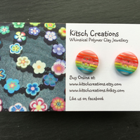 Button Earrings Rainbow Earrings Stud Earrings  Design 5