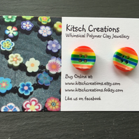 Button Earrings Rainbow Earrings Stud Earrings  Design 6