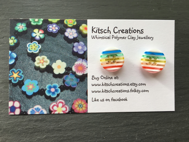 Button Earrings Rainbow Earrings Stud Earrings  Design 2