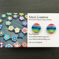 Button Earrings Rainbow Earrings Stud Earrings  Design 8
