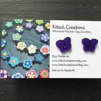 Purple Butterfly Button earrings