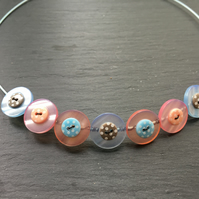 Button Necklace  Layered Button Choker