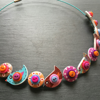 Button Necklace Turquoise Purple and Orange Birds