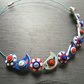 Button Necklace Blue and RedBirds