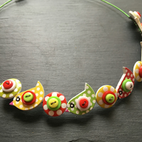 Button Necklace Red Yellow Green Birds