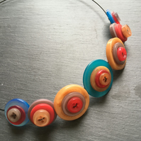 Sale Upcycled  Button Necklace Jewel Tones