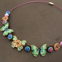 Butterfly button choker necklace