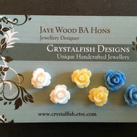 Rose earring trio white lemon blue