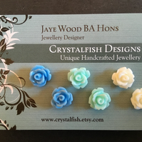 Rose earring trio blue mint cream