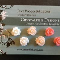 Rose earring trio Salmon, peach and ivory