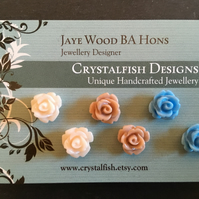 Rose earring trio Powder blue, ivory and coffee