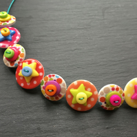 Rainbow Button Choker Necklace Stars