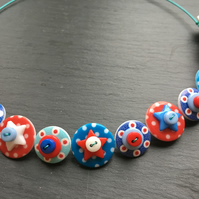 Spotted Star Button Choker Necklace Red White Blue