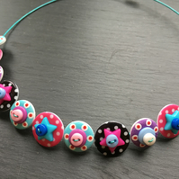 Spotted Star Button Choker Necklace Black Hot pink Turquoise
