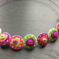 Spotted Heart Button Choker Necklace Pink Green Purple