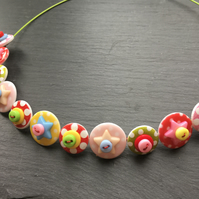 Spotted Star Button Choker Necklace Retro colourway