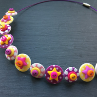 Spotted Star Button Choker Necklace Pink Yellow Purple