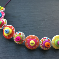 Rainbow Button Choker Necklace Hearts