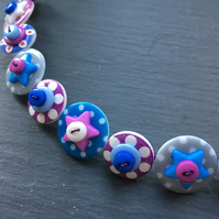 Spotted Star Button Choker Necklace Blue Purple White