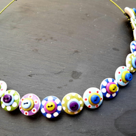 Button Necklace Spotted Wooden Choker  Green Blue Purple