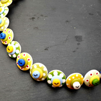 Button Necklace Spotted Wooden Choker  Yellow Green Blue