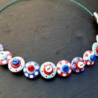 Button Necklace Spotted Wooden Choker  Nautical Jubilee  Red White Blue