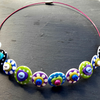 Spotted Heart Button Choker Necklace Purple Green Blue Black