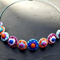 Spotted Heart Button Choker Necklace Purple Orange Blue