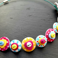 Spotted Heart Button Choker Necklace Pink Yellow Blue