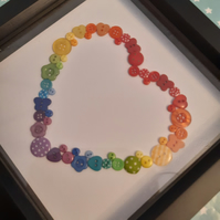 Rainbow button heart box frame black one of a kind