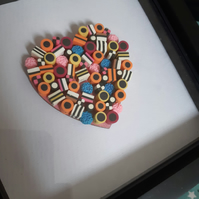 Liquorice allsort heart in box frame