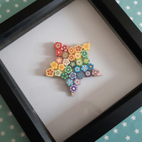 Polymer clay rainbow star in box frame