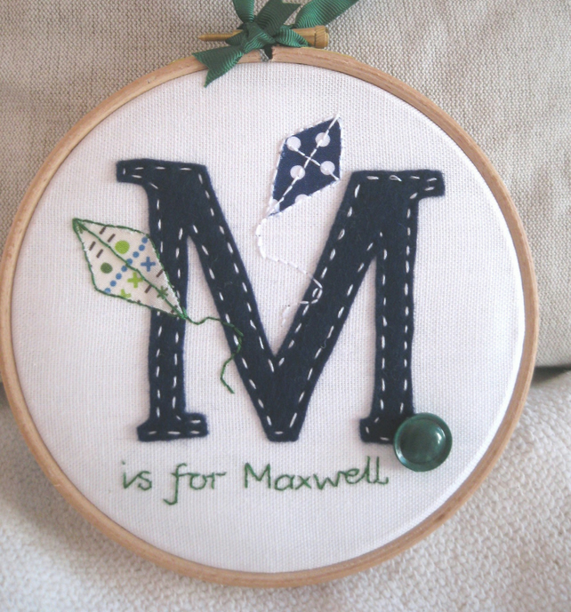 Personalised Initial Hoop Art - New Baby Gift