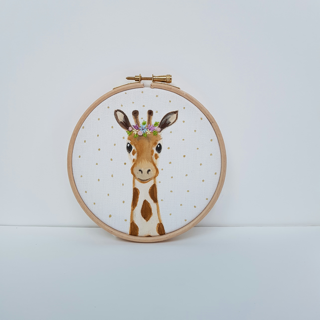 Giraffe Art - Giraffe Hoop Art - Flower Crown Giraffe