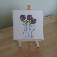 Mini Canvas - hand embroidered jug of flowers