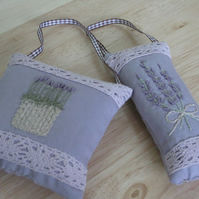 Pair of hand embroidered lavender and lace sachets