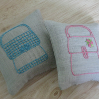 Pair of hand embroidered lavender sachets - coral and turquoise handbags