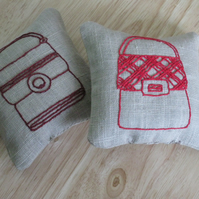 Pair of hand embroidered linen lavender sachets - burgundy and red handbags