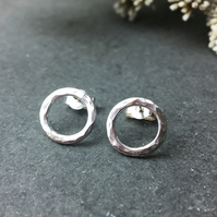 Hammered silver circle earrings, Open circle studs, Circular simple earrings