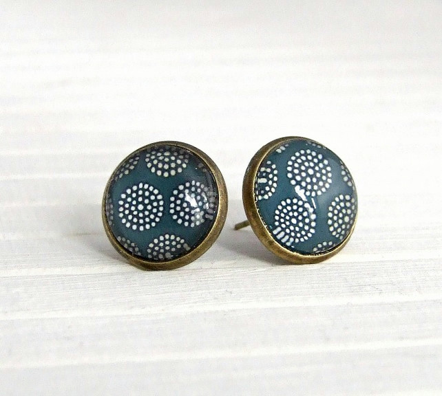 Blue Grey Flower Earrings