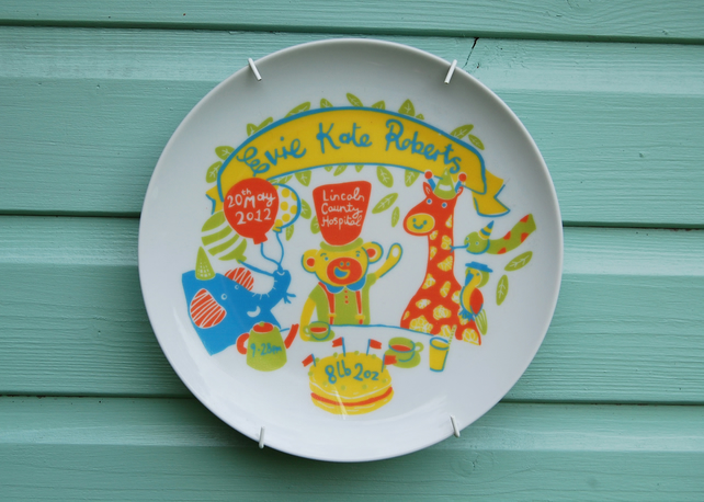 Baby Birth Plate - Jungle Tea Party