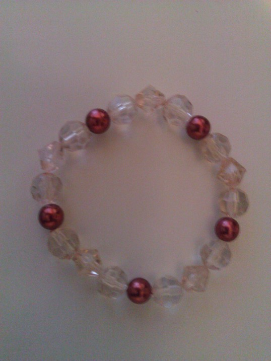 Elasticated  Bracelet - Cranberry Crystal