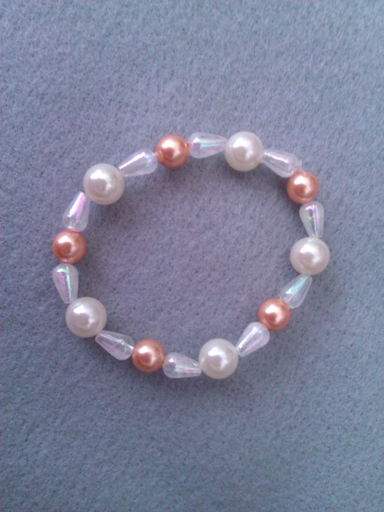 Elasticated  Bracelet - Peachy Pearl Bow