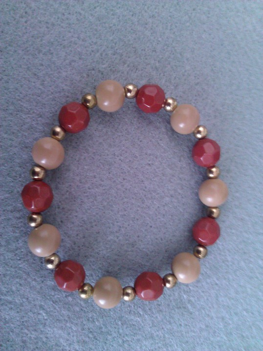 Elasticated  Bracelet - Loganberry Latte