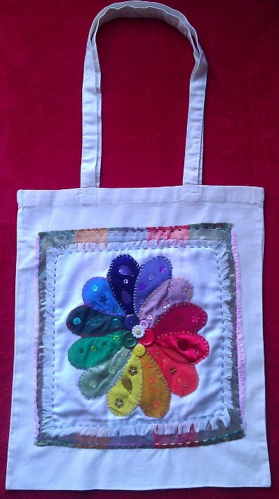 Long Handle Tote Bag - Colour Wheel Flower