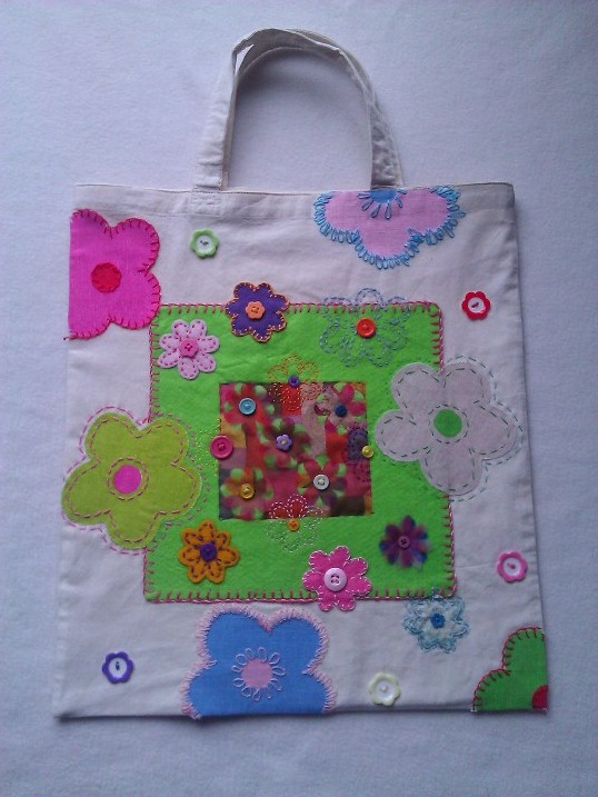 Short Handle Tote Bag - Crazy Daisy