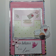 Mum With Love Tea Cup Card