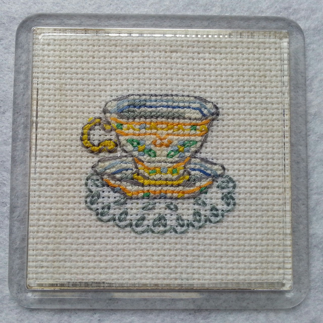 Tea Cup Cross Stitch Coaster